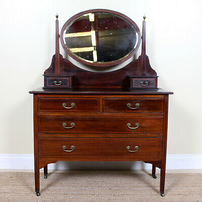 Antique Victorian Dressing Table Chest of Drawers Inlaid Mahogany Mirrored