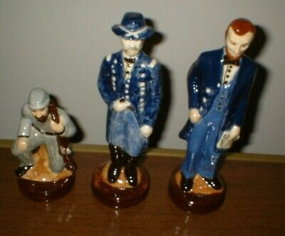 Civil War Abraham Lincoln, Union Soldier, Confederate Soldier Ceramic Statues