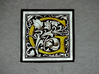 """Beautiful Stained glass """"G"""" Hand painted Kiln fired 100 x 100 mm Antique style"""