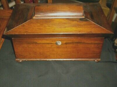 ANTIQUE SARCOPHAGUS OAK DOUBLE MIXING TEA CADDY EARLY 19TH cENTURY