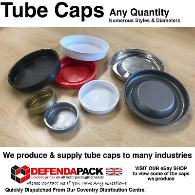 """100 BLACK POSTAL TUBE END CAPS 101mm 4"""" inch Spare Plastic Bungs Plugs Stoppers"""