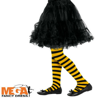 Bee Stripe Tights Girls Fancy Dress Kids Animal Insect Childs Costume Accessory