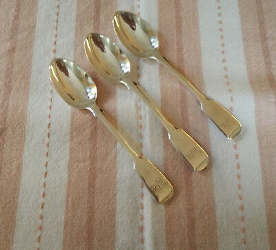 3 Antique Silver Teaspoons 1894 Hallmarked Monogrammed Fiddle Back Exct Condn