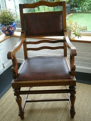 Impressive Solid Oak Late Victorian Antique Arm Elbow Chair -Leather Back & Seat