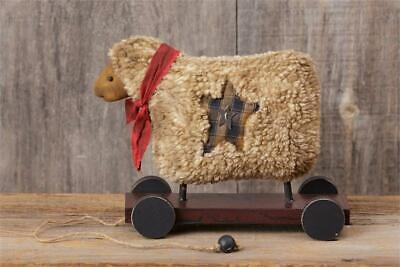NEW!! Primitive Country Farmhouse Folk Art Grungy Colonial Wooly Sheep On Cart