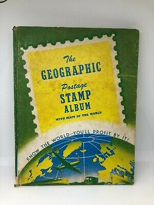 1949 The Geographic Postage Stamp Album W/ Maps Of The World 375 plus Stamps