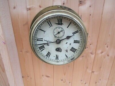 HEAVY BRASS 1920s ASTRAL OF COVENTRY,SHIP'S BULKHEAD CLOCK.SPARES OR RESTORATION