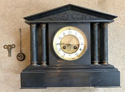 🕰 Black Marble Temple/Palladian Style Mantle Clock – A Lovely Old Clock 🕰
