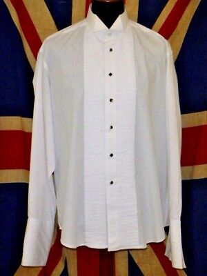 """formal dress shirt white wing collar pleat front Pierre Cardin large 17.5"""""""