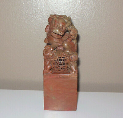 Antique VTG Carved Chinese Carved Stone SEAL Stamp FOO DOG GUARDIAN LION