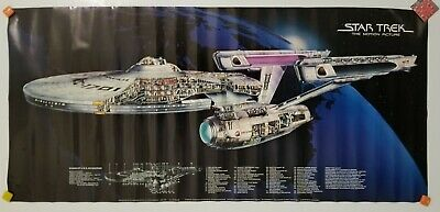 Vintage 1979 STAR TREK The Motion Picture USS ENTERPRISE DIAGRAM POSTER NEW