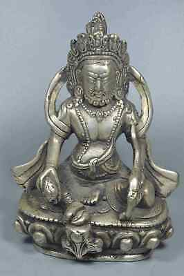 Chinese Collectable Handwork Miao Silver Carve Buddha Temple Auspicious Statue