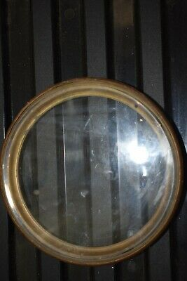 Antique  Clock Bevelled Glass With Brass Bezel  6""