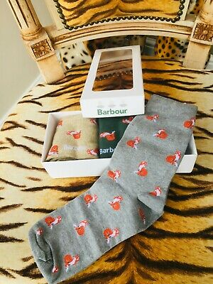 New Barbour Fox Hunting 3 Pack Of Socks In Gift Box Size Large R.r.p. £30.00