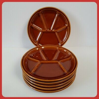 Set of 6 GIEN France Fondue Sushi Tapas Plates Vintage Retro Gien Pottery Decor