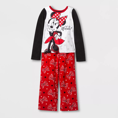 Girls' Minnie Mouse 2pc Fleece Pajama Set, Red sz 10 NEW!