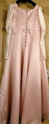 """Ladies Vintage Size 38"""" Chest Pink Satin Lined Bridesmaid Empire Dress Ball Gown"""