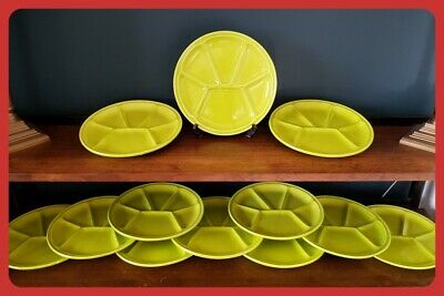 12 Green GIEN France Fondue Sushi Tapas Plates Vintage Retro Gien Pottery Decor