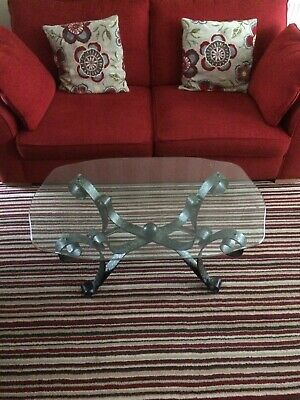 glass coffee table with arts and crafts type metalwork base, Liverpool Area,