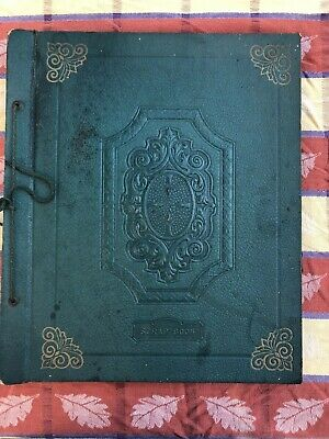 Vintage 1940 String Bound Scrap Book Embossed Cover Partial Filled Cards, Obits+