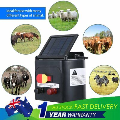 New 8km Solar Power Electric Fence Energiser Charger Kit Farm Fencing Battery XI
