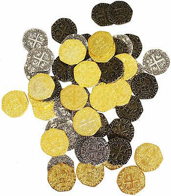Pirate Treasure Metal Coins 48 Large Gold Silver Bronz Doubloon Coins Replicas