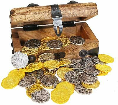 Pirate Treasure Chest w/ Metal Coins 32 Gold Silver Doubloon Replica Coins