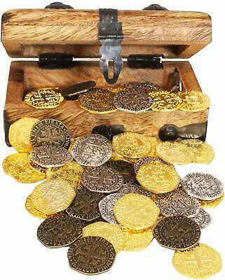 Pirate Treasure Chest w/ Metal Coins 48 Gold Silver Bronze Doubloon Replica Coin