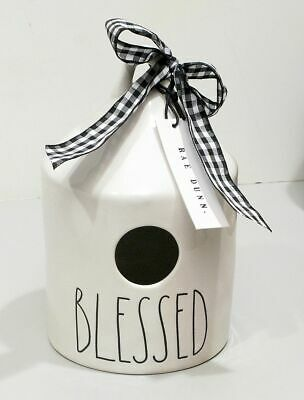 New RAE DUNN Artisan Collection BLESSED Round Birdhouse By Magenta Long Letters