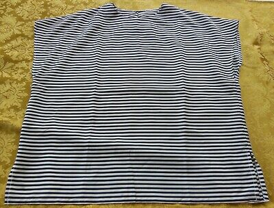 Handmade Top Black and White Horizontal Stripes - Size Large