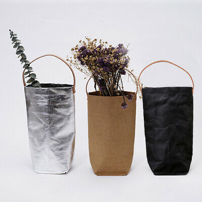 Tote Bag Brown Paper Wine Packaging Decorative Washable Solid Portable Flowers