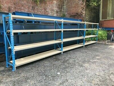 Longspan shelving, Industrial, racking, warehouse racking, 3 bays with boards