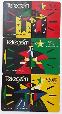 Telecom Phonecards New Zealand 1991 CHRISTMAS SERIES 3 Cards Used Collectors
