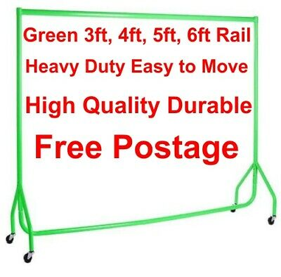 Garment Rails GREEN HEAVY DUTY 3ft,4ft,5ft,6ft Hanging Clothes Shop Displays❤