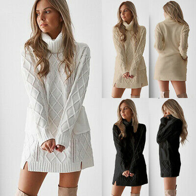Women Cable Knit Long Sleeve Mini Dress Turtle Neck Long Sweater Jumper Pullover