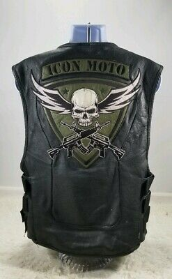 Icon Regulator Leather Motorcycle L-XL Device Skull Patch Concealment