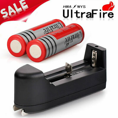 2pcs BRC 6800mAh 18650 Battery 3.7v Li-ion Rechargeable Batteries +Smart Charger