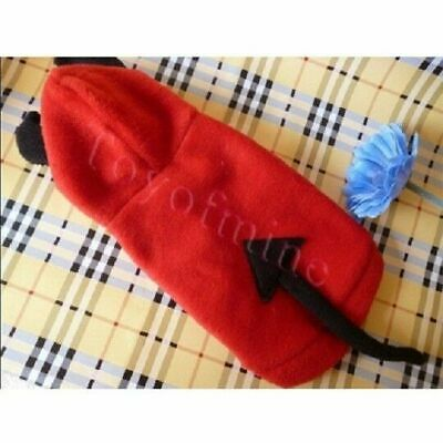 RED Cute Teddy Pet Puppy Clothes demon design Dog Hoodie Coat