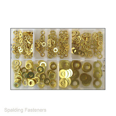 Assorted Kit Metric Solid Brass Form A Flat Washers M4 M5 M6 M8 M10