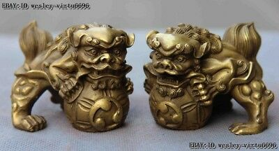 Chinese Fengshui Animal Copper Brass Foo Dog Lion Kylin Unicorn Play Ball Statue