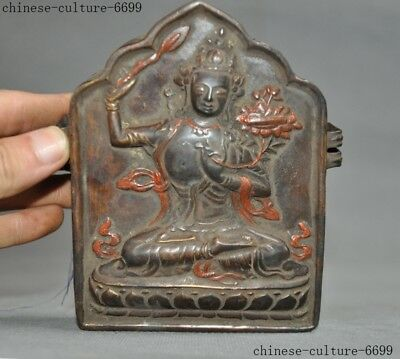 antique Dynasty China Old Bronze excellent Statue Vintage Buddha Lucky 13cm