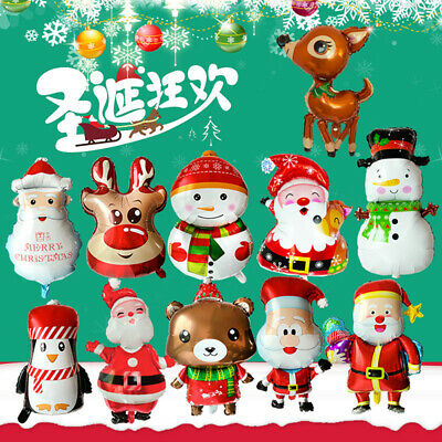 Foil Balloon Christmas Series Santa Claus Snowman Handheld Wand Party Decor