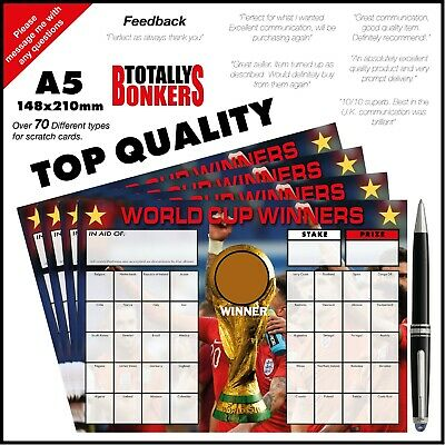 World Cup Scratch Cards  40 Teams - Football Fundraising  - Charity - Clubs
