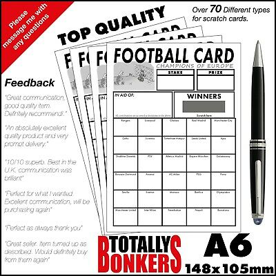 Football Scratch Cards  30 Teams - Champs Of Europe - Fundraising - Charity