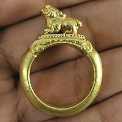 Antique Roman Gold Ring Rare Stunning High Carat with Beast #202