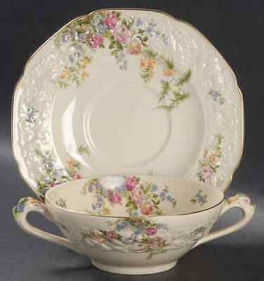 Crown Ducal. Florentine Soup Bowl (3) and Saucers.(2) Made In England.