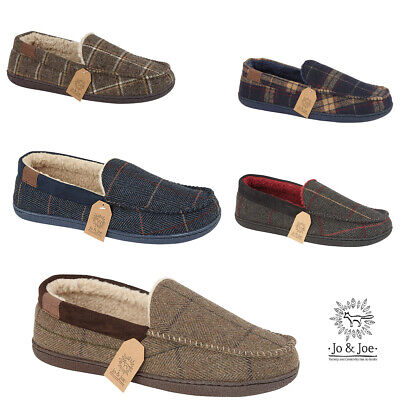 Mens Jo & Joe New Faux Suede Fur Lined Moccasin Classic Slip On Slippers Shoes