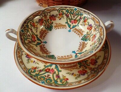 Stunning Antique Cauldon China  Hand Painted Soup Bowl & Saucer Made In England