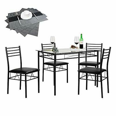 Surprising Vecelo Dining Table With 4 Chairs 4 Placemats Included Lamtechconsult Wood Chair Design Ideas Lamtechconsultcom