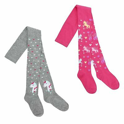 Girls Unicorn Tights Cotton Rich Warm Soft Knitted Tights 2 3 4 5 6 7 8 Years